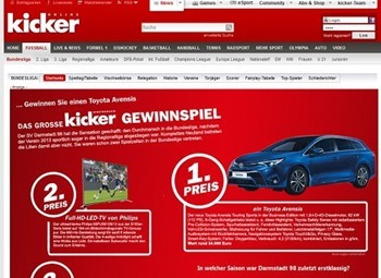kicker gewinnspiel auto gewinnen toyota avensis 2015