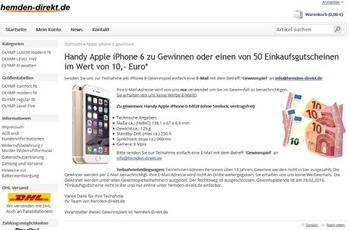 hemden direkt gewinnspiel apple iphone 6